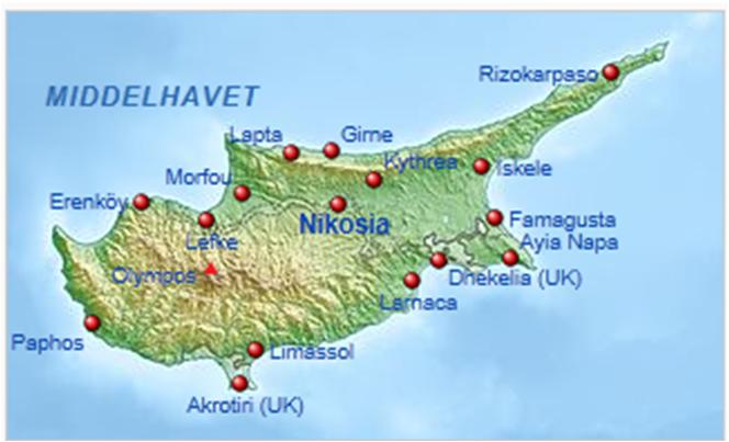 kart over kypros Asia Afrika   Ky.a kart over kypros