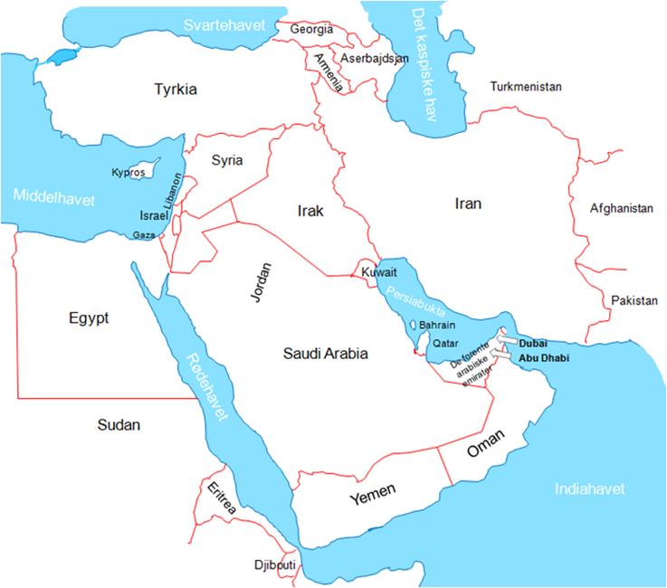 midtøsten kart Asia Afrika   Midtøsten 1 midtøsten kart