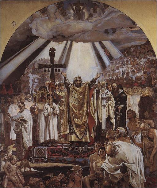 Крещение Руси. Фреска В.М.Васнецова над входом на хоры во Владимирском соборе в Киеве