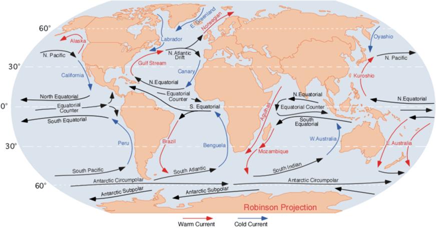 havstrømmer kart Verdensrommet   Jorda.e havstrømmer kart